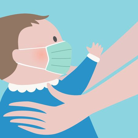 Close up of woman hands holding a baby with green protective face mask.Epidemic disease concept.Maternity virus spreading protection.air pollution face mask.vector illustration.
