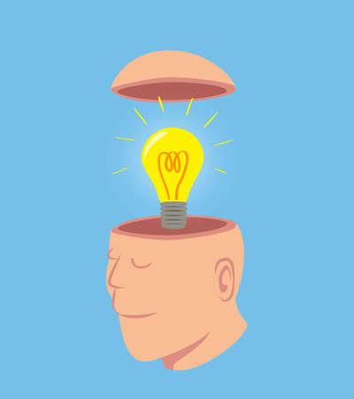 Man with Bright light bulb in his open head, idea concept cartoon isolated on blue background vector illustration Illustration