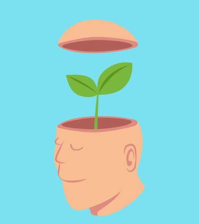 Man with a little tree in his open head, idea concept cartoon isolated on pastel color background vector illustration. Illustration