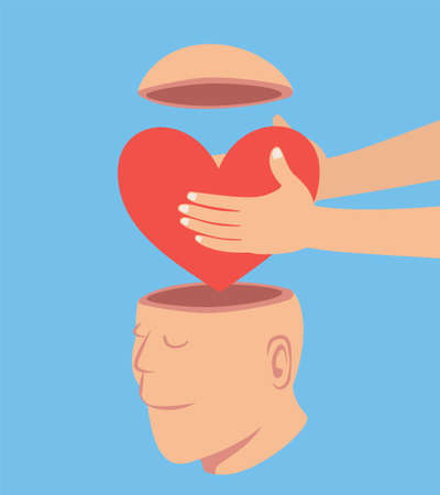 Man putting a Red heart to the open head man, idea concept cartoon isolated on blue background vector illustration