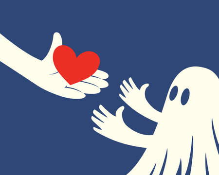 Close up of hand holding red Heart and a children with white ghost costume on blue background Illustration