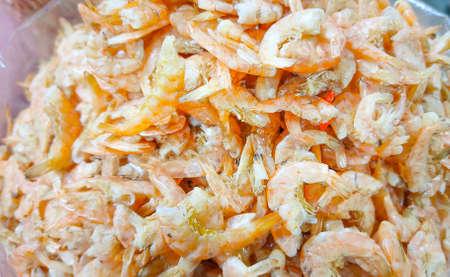 Dried shrimp or small dried shrimp.Dried shrimp in an Asian market.