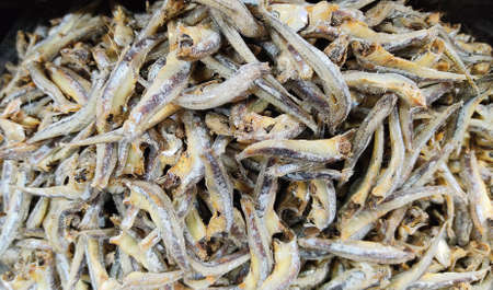 Dried Anchovies fish.Small dried fish in an Asian market.