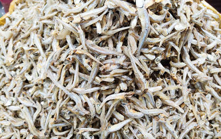 Close up of Dried small fish.Small dried fish in market.