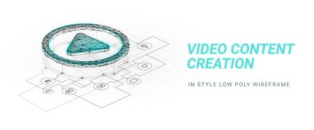 Video content creation.Play button. Scheme reflecting the mechanism for creating video.Abstract illustration isolated on white background.Low poly wireframe style.Plexus lines and points in silhouette