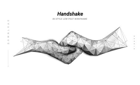 Handshake. Abstract illustration two hands handshake isolated on white background. Symbol future or innovation or technology. Low poly wireframe. Particles are connected line. Low poly wireframe.