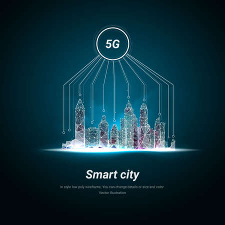 Smart city and telecommunication. 5G network wireless systems and internet of things with modern city skyline. Low poly wireframe mesh. Particles are connected in a geometric silhouette