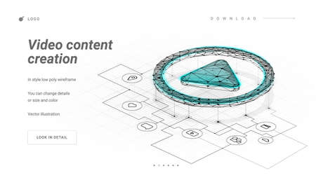 Play button. Sheme / plan / mechanism for create the video. Process of creating a video or film production. Making a film, filmmaking, online course. Low poly wireframe mesh. Plexus lines and points
