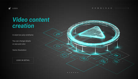Play button. Sheme / plan / mechanism for create the video. Process of creating a video or film production. Making a film, filmmaking, online course. Low poly wireframe mesh. Plexus lines and points Vektorové ilustrace