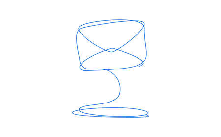 email or Envelope. Silhouette of the Envelope with a continuous line. Single line drawing. Vettoriali