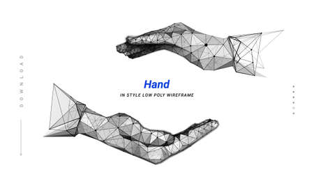 Hands. Cupped care hands. ? up-shaped form of the hands. Open hand. Abstract illustration isolated on dark background. Low poly wireframe. Particles are connected in a geometric silhouette