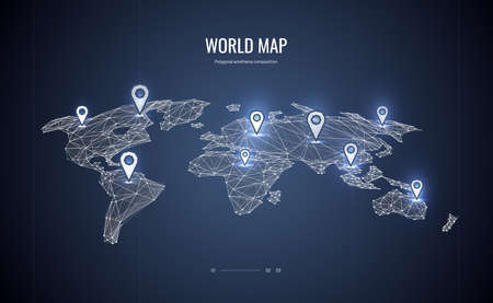 World map isometric. Polygonal wireframe composition. Marked location map. Abstract illustration isolated on blue background. Particles are connected in a geometric silhouette.