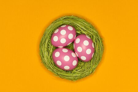 thre pink easter eggs