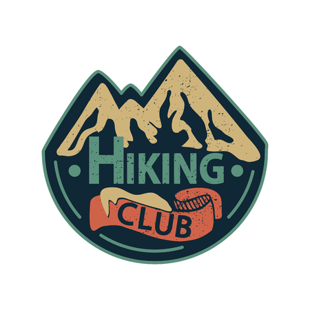 Vector illustration with graphic elements and lettering. Hiking Club.