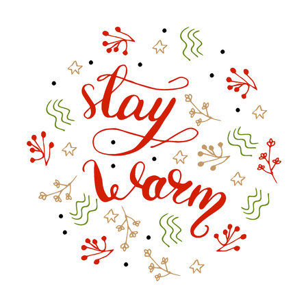 Vector illustration of stay warm with graphic elements and lettering.