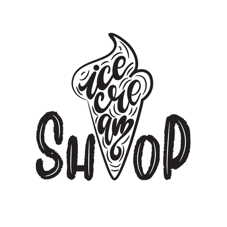 Vector illustration of ice cream shop with lettering. Illustration