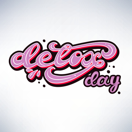 Vector illustration with lettering Detox day.