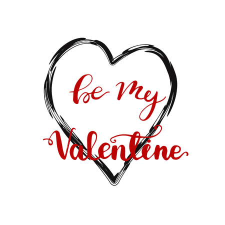 Greeting card design with lettering Be my Valentine