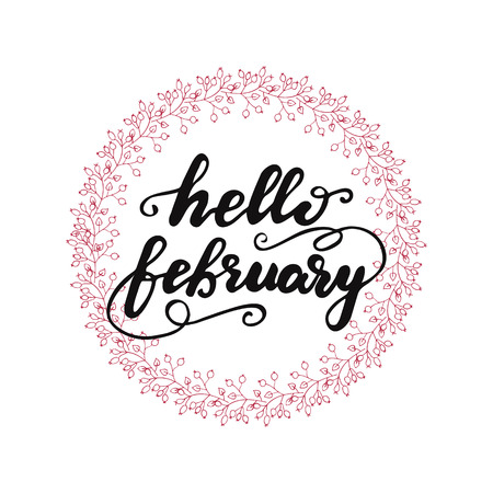 Lettering Hello February Vectores