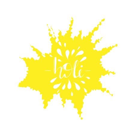 Greeting card design with lettering Holi illustration. Illustration