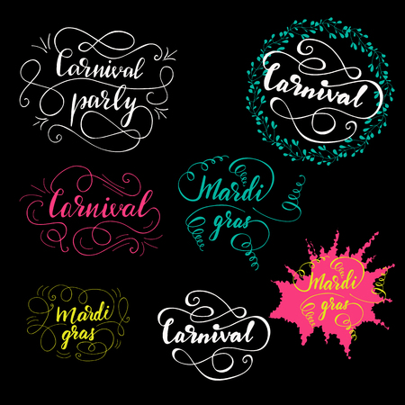 Set of Greeting lettering for Holi Celebration.