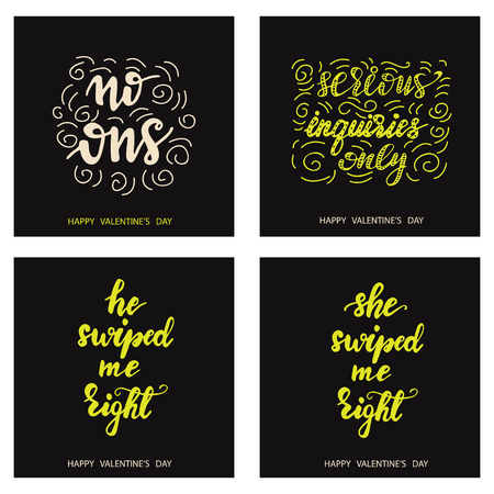 Set of Funny card designs with lettering phrases. Illustration