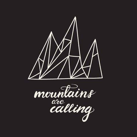 Card design with lettering Mountains are calling.