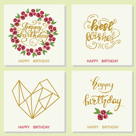 Set of Greeting card designs with lettering Happy birthday. Vector illustration. Vettoriali