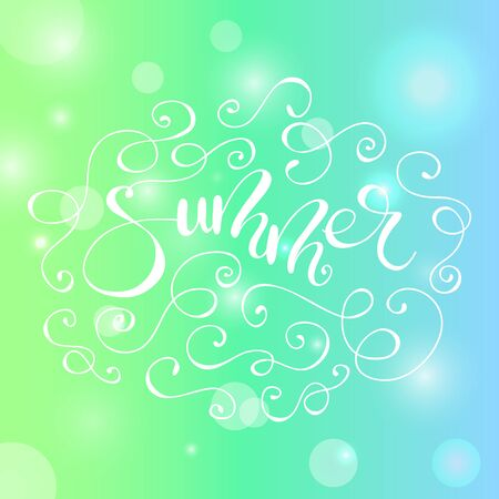 Lettering Summer with flourishes. Vector illustration. Illustration
