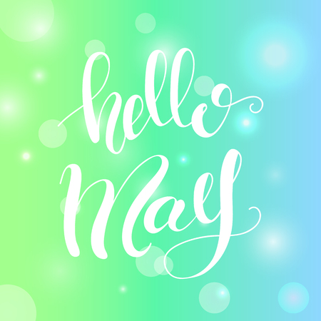 Lettering Hello May. Vector illustration.