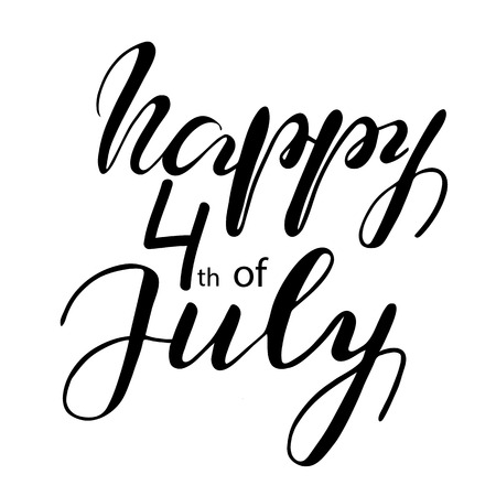 Lettering Happy Fourth of July. Vector illustration.
