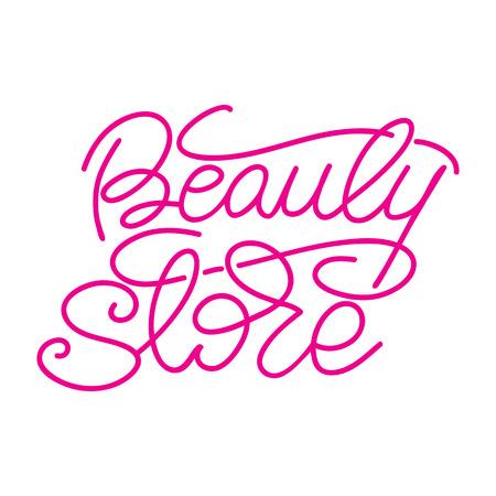 Lettering Beauty store. Vector illustration.