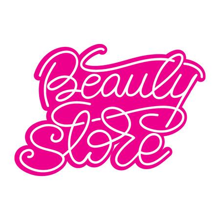 Lettering Beauty store illustration.
