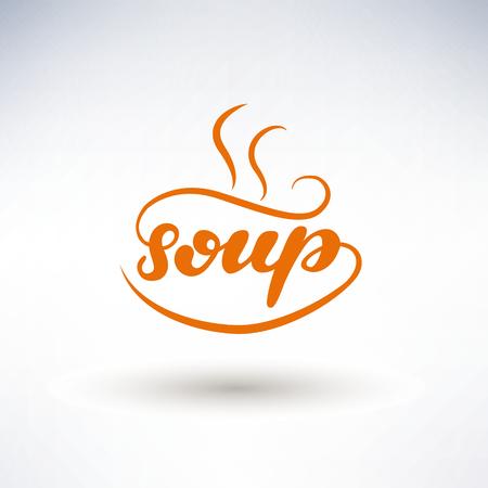 Soup lettering logo design. Vector illustration.