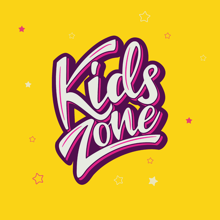 Kids zone banner design with lettering. Vector illustration.
