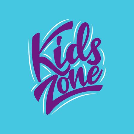 Kids Zone Lettering Logo. Vector illustration.