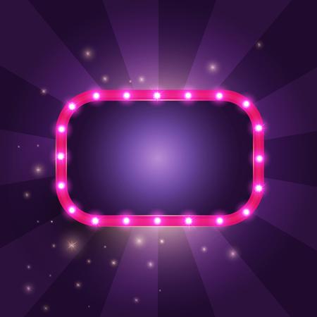 Retro Frame with lights. Vector illustration.