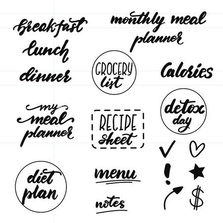 Ensemble de phrases de lettrage pour les planificateurs de repas. Illustration vectorielle.