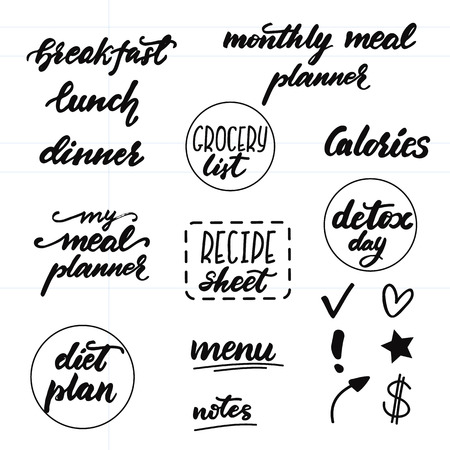 Set of lettering phrases for meal planners. Vector illustration. 矢量图像
