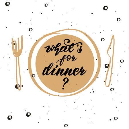 """Cartel de letras para la cocina """"¿Qué hay para cenar?"""" Ilustración de vector."""