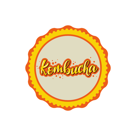 Kombucha lettering badge design. Vector illustration.