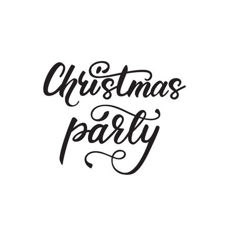 Lettering design Christmas party. Vector illustration.