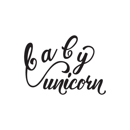 Lettering design Baby Unicorn. Vector illustration.