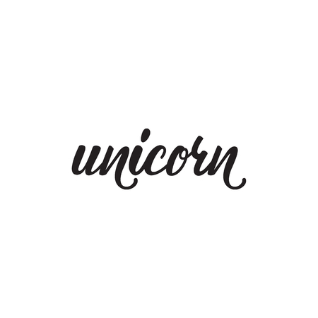 Lettering design Unicorn. Vector illustration.