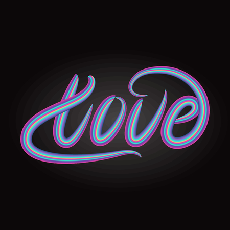 Love lettering word design. Vector illustration.