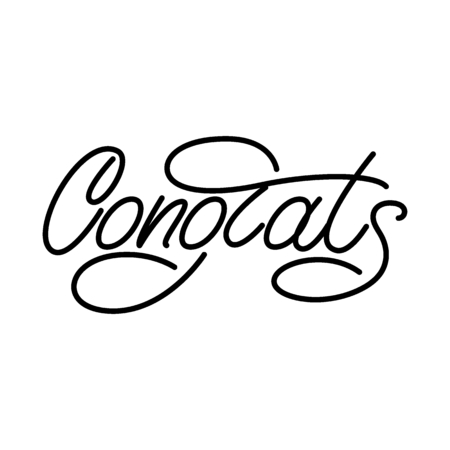 Congrats monoline lettering. Vector illustration.