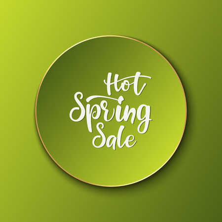 Advertisement lettering banner Hot Spring Sale. vector illustration. Vectores