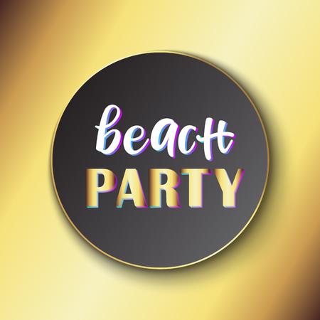 Banner publicitario fiesta en la playa. Ilustración vectorial.