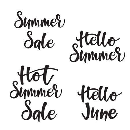 Lettering set Hot Summer Sale. Vector illustration. Çizim