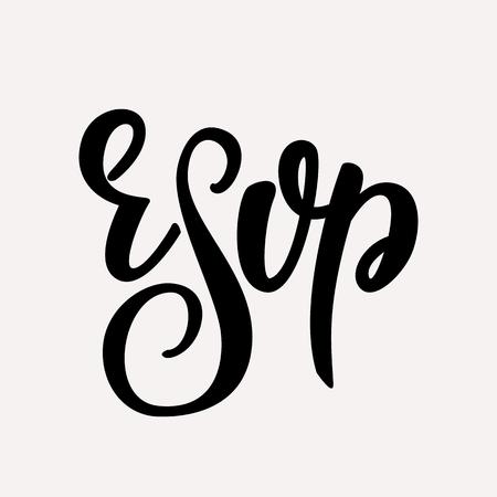 RSVP - wedding lettering design. Vector illustration. Vector Illustration